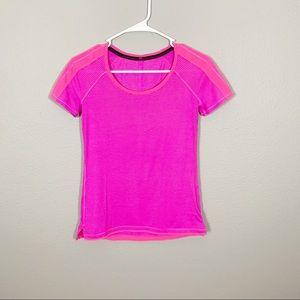 Lululemon Pink Striped Short Sleeve Top
